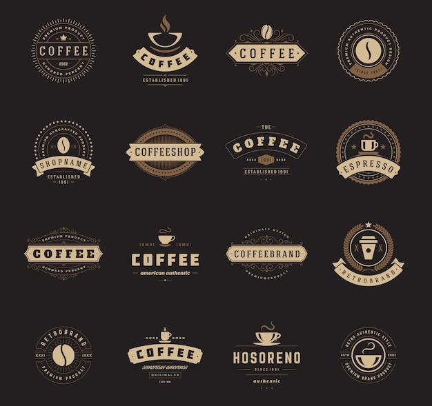 Kaffeestubelogoschablonen stellten illustration ein. Premium Vektoren