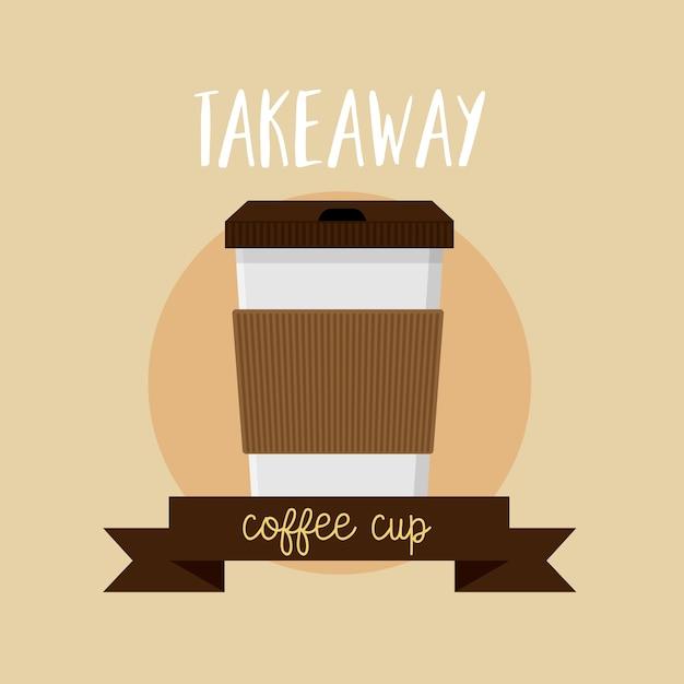 Kaffeetasse nehmen flache ikone des ikonenlogos weg Premium Vektoren