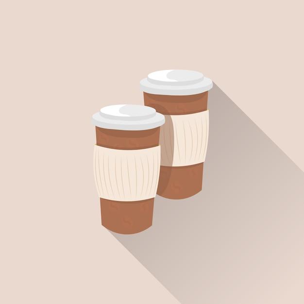 Kaffeetasse-papierwegwerf mit langem schatten Premium Vektoren