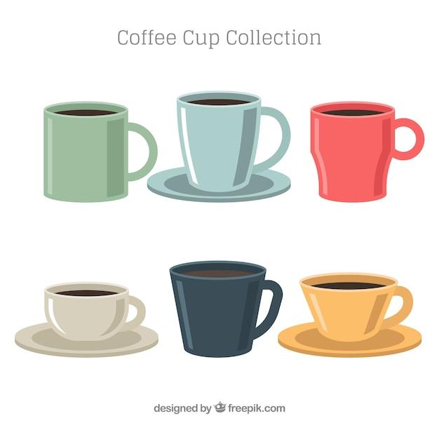 Kaffeetasse sammlung von sechs in verschiedenen farben Kostenlosen Vektoren