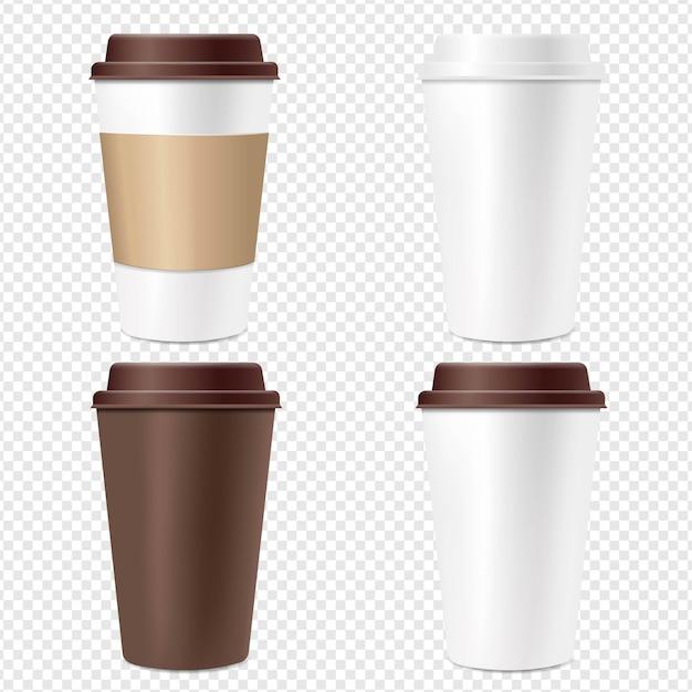 Kaffeetasse set transparenter hintergrund Premium Vektoren