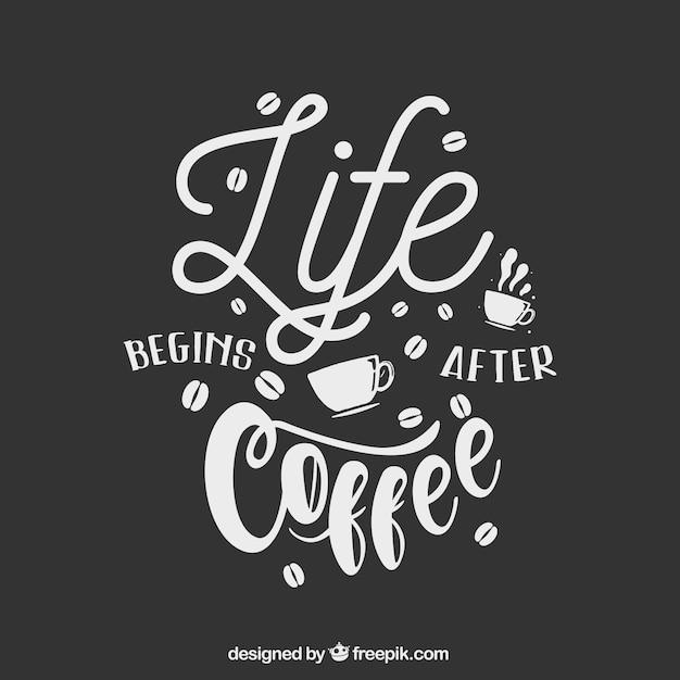 Kaffeetasse silhouette mit schriftzug Kostenlosen Vektoren