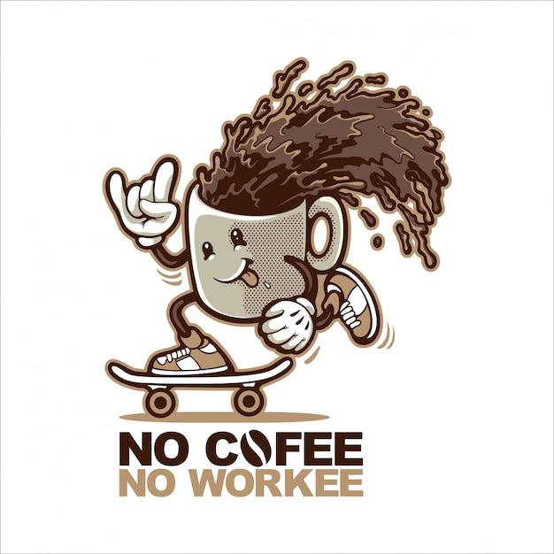 Kaffeetasse skateboards Premium Vektoren