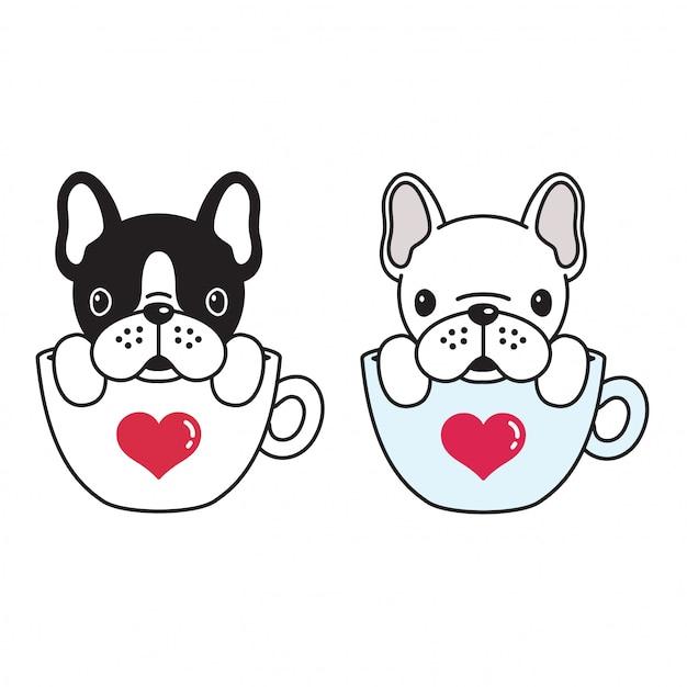 Kaffeetassekarikatur der französischen bulldogge des hundevektors Premium Vektoren