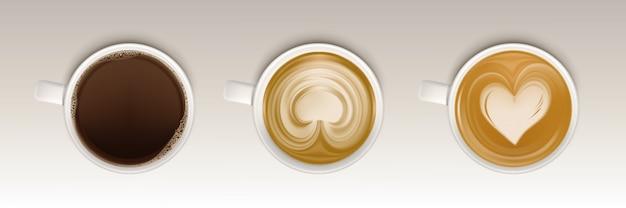 Kaffeetassen draufsicht gesetzt, realistische tasse mit getränk Kostenlosen Vektoren