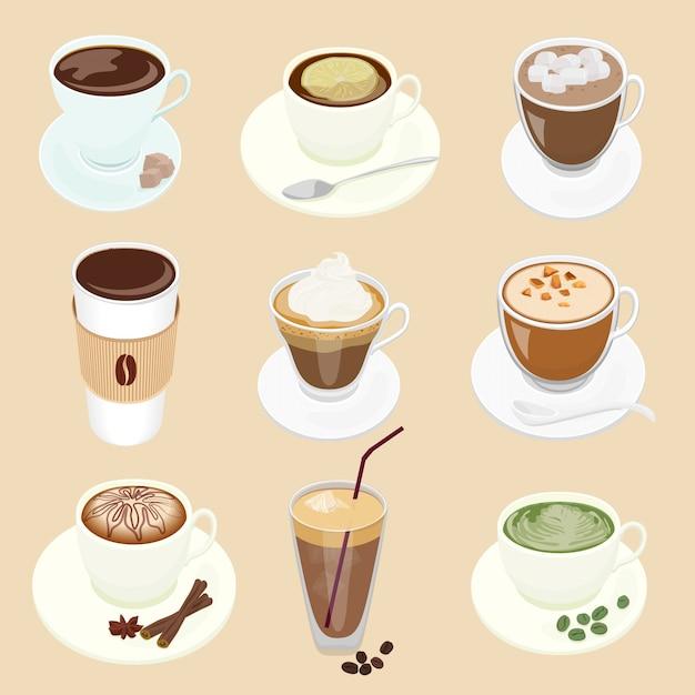 Kaffeetassen eingestellt Premium Vektoren
