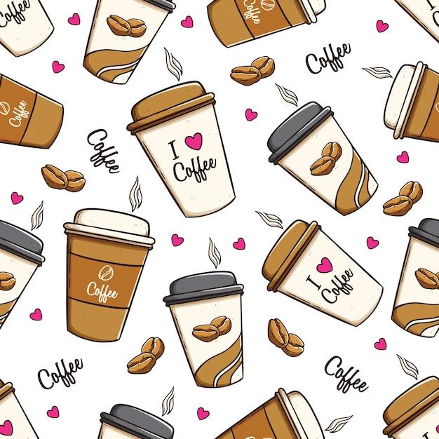 Kaffeetassen und kaffeebohnen im nahtlosen muster unter verwendung der gekritzelkunst Premium Vektoren