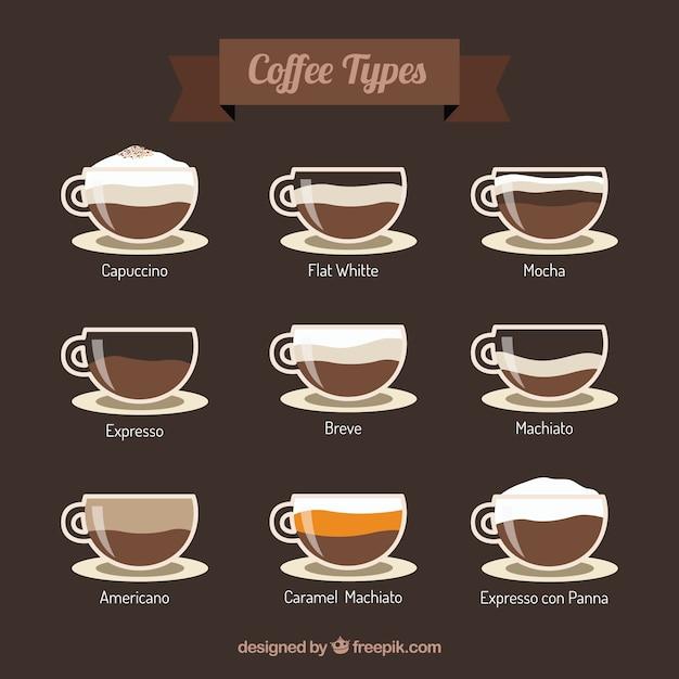 Kaffeetypen Kostenlosen Vektoren
