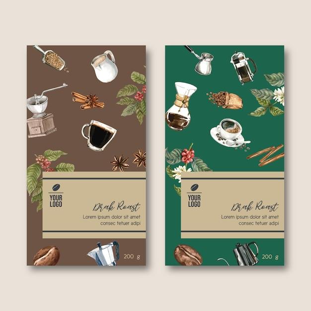 Kaffeeverpackungstasche mit niederlassung verlässt bohne, weinlese, aquarellillustration Kostenlosen Vektoren