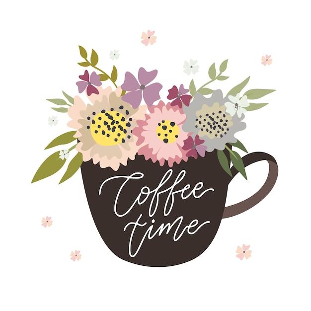 Kaffeezeit, becher mit blumen Kostenlosen Vektoren