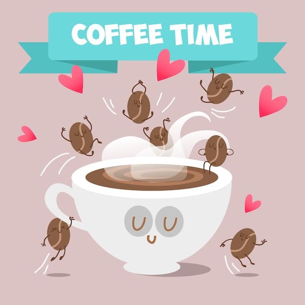 Kaffeezeit hintergrund Kostenlosen Vektoren