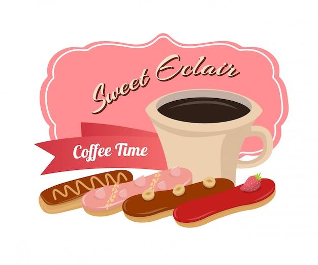 Kaffeezeit mit süßen eclairs motivieren plakat Premium Vektoren