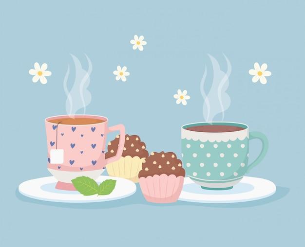 Kaffeezeit und tee, heiße tassen und süßes cupcakes-dessert Premium Vektoren