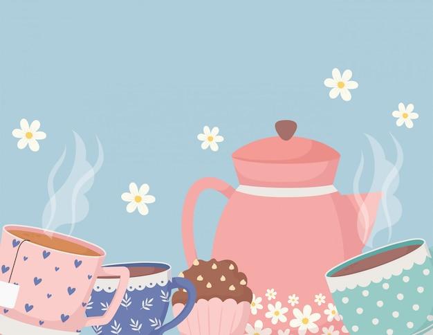 Kaffeezeit und tee, teekannenbecher cupcakes mit blumendekoration Premium Vektoren