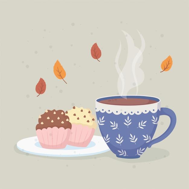 Kaffeezeit und teetasse mit heißer flüssigkeit und süßen cupcakes Premium Vektoren