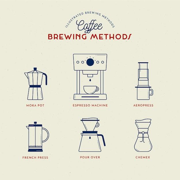 Kaffeezubereitungsmethoden Kostenlosen Vektoren