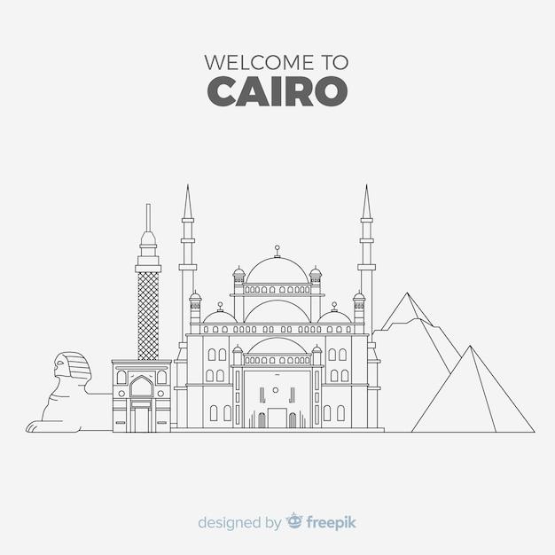 Kairo skyline zusammensetzung mit linearen stil Kostenlosen Vektoren