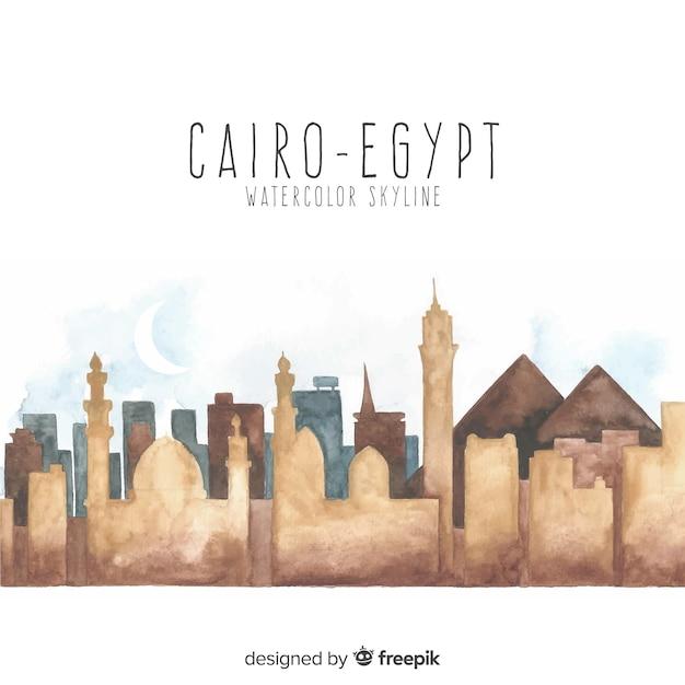 Kairo-skylinehintergrund in der aquarellart Kostenlosen Vektoren