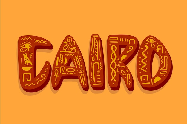 Kairo-stadtbeschriftung auf orange hintergrund Kostenlosen Vektoren