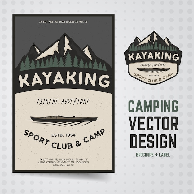 Kajak-plakatillustration Premium Vektoren