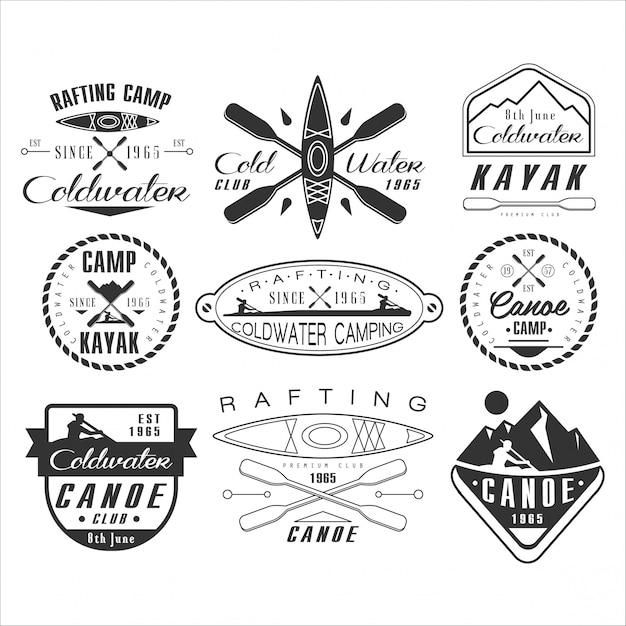 Kajak- und kanuemblem, abzeichen und logo Premium Vektoren