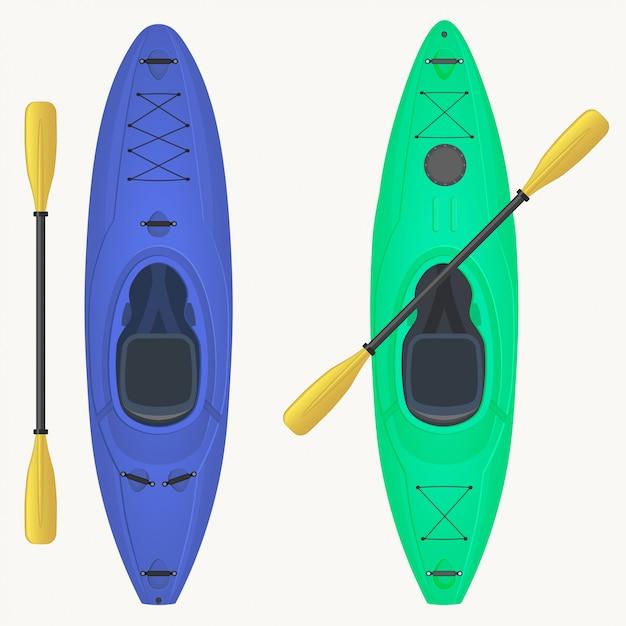 Kajak und paddel. kajakfahren wassersport, outdoor-aktivitäten. Premium Vektoren