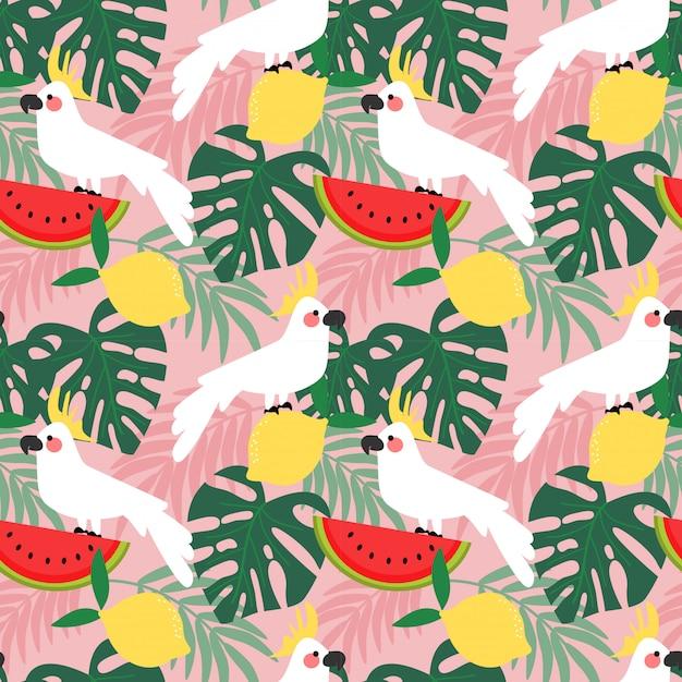 Kakadu im tropischen waldnahtlosen muster. Premium Vektoren