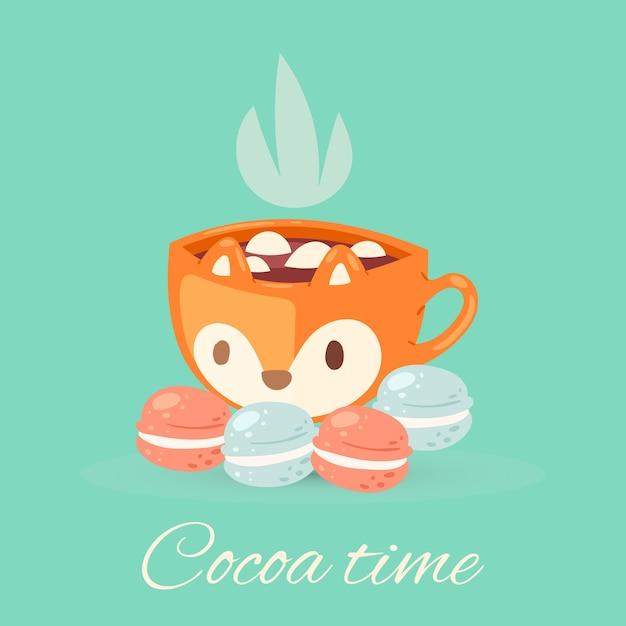 Kakao-zeitbeschriftungsillustration, gemütliche tasse mit leckerem köstlichem kakaogetränk, niedliche tasse heiße aromaschokolade Premium Vektoren