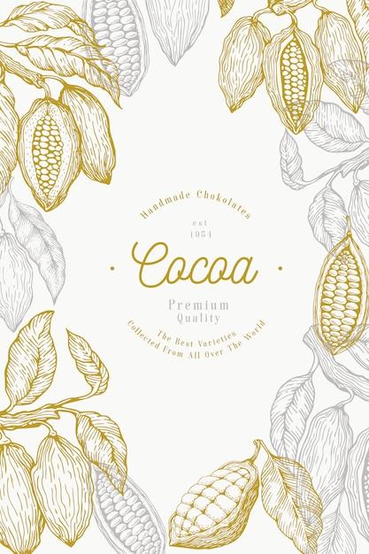 Kakaobohne baum banner vorlage. schokoladenkakaobohnen. hand gezeichnete illustration. vintage-stil illustration. Premium Vektoren