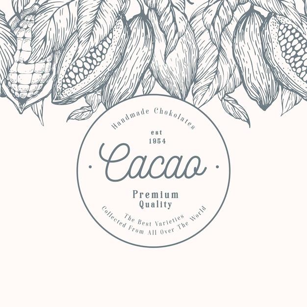 Kakaobohnebaum-fahnenschablone. schokoladen-kakaobohnen-hintergrund. vektor hand gezeichnete illustration. retro-stil abbildung. Premium Vektoren