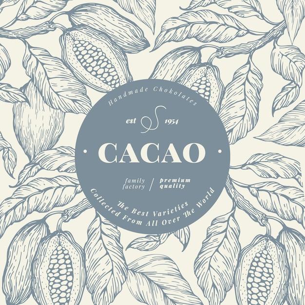 Kakaobohnebaum-fahnenschablone. schokoladen-kakaobohnen-hintergrund. Premium Vektoren