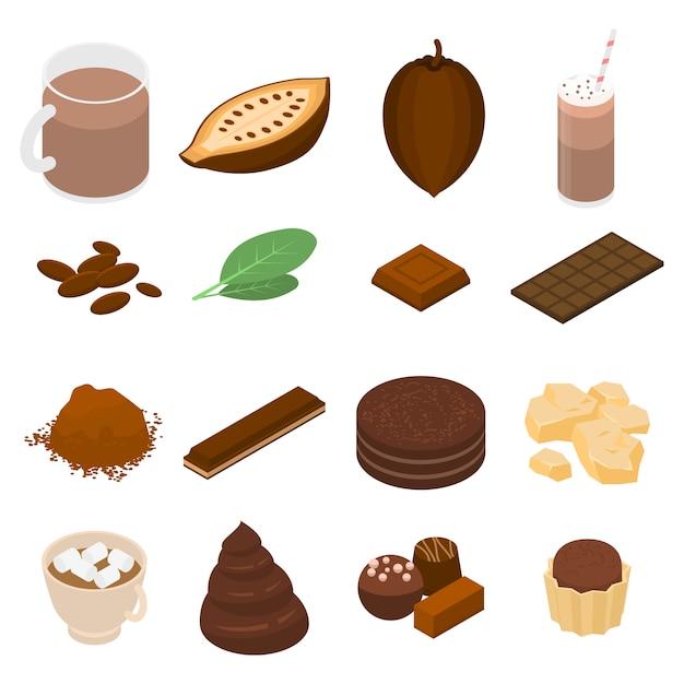 Kakaoikonen eingestellt, isometrische art Premium Vektoren