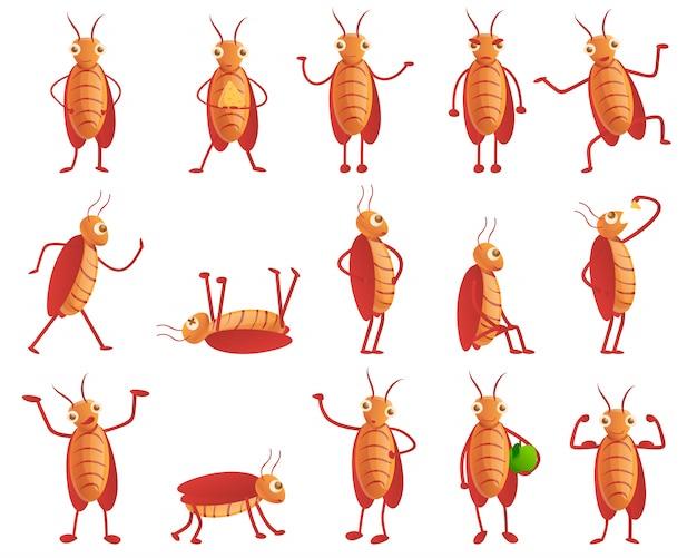 Kakerlakenset im cartoon-stil Premium Vektoren