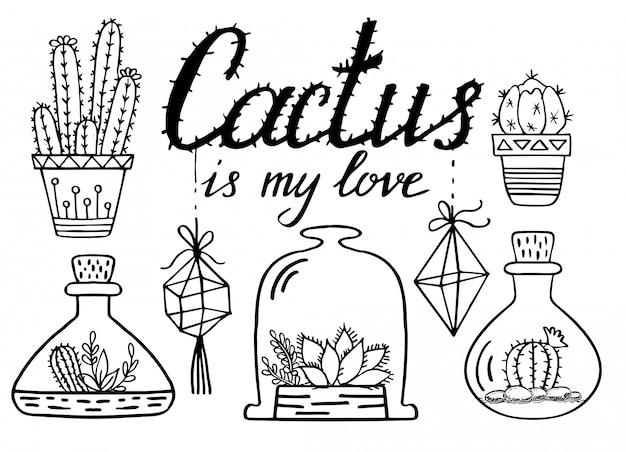 Kakteen und sukkulenten strichzeichnung. kaktus gekritzelsatz Premium Vektoren