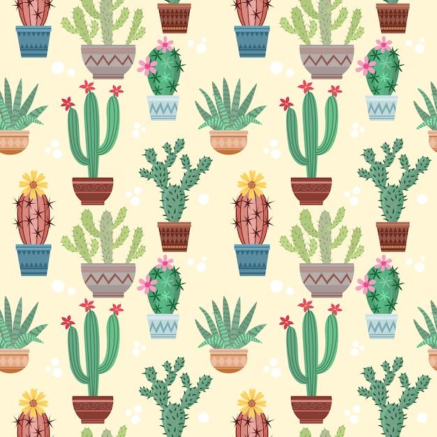 Kaktus im nahtlosen muster des topfes. Premium Vektoren