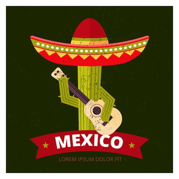Kaktus in sombrero Premium Vektoren