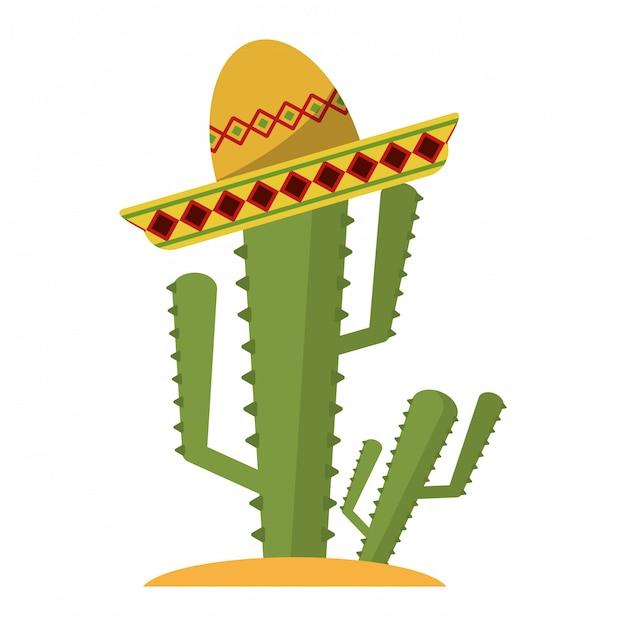 Kaktus mit mexikanischem hut Premium Vektoren