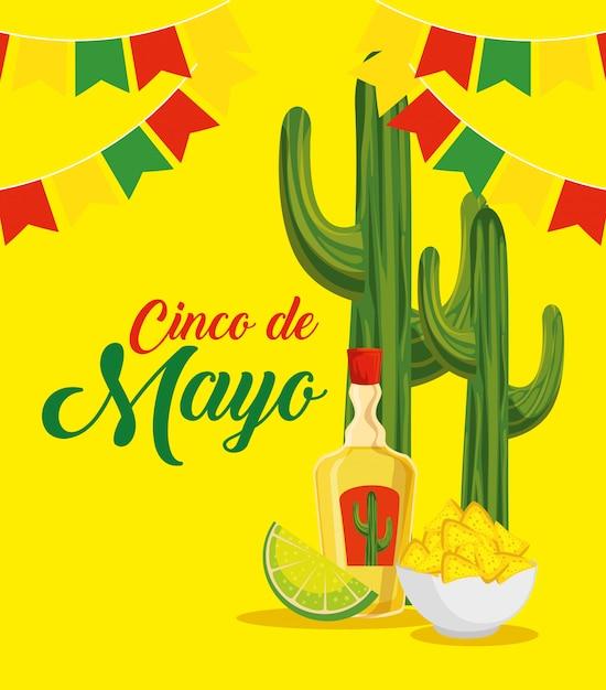 Kaktus mit tequila und nachos zum traditionellen ereignis Kostenlosen Vektoren