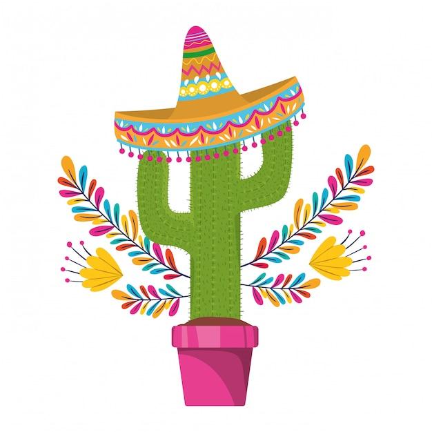 Kaktus mit topf und mexikanischer hutikone Premium Vektoren