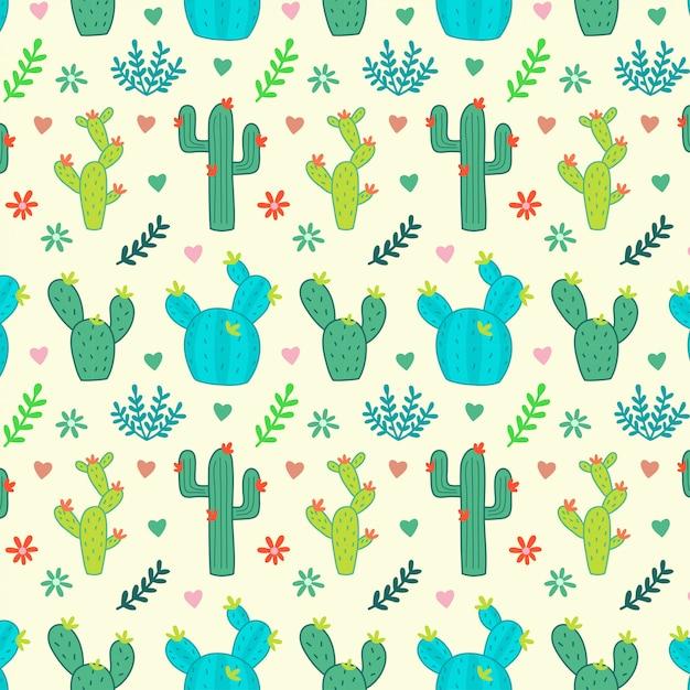 Kaktus, sukkulenten, nahtloses blumenmuster Premium Vektoren