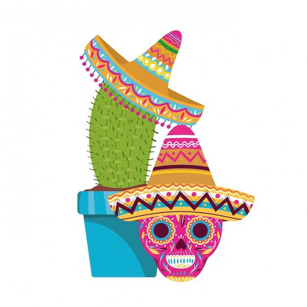 Kaktus und schädel mit mexikanischer hutikone Premium Vektoren
