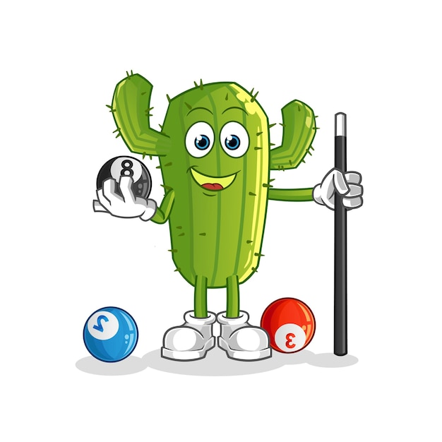 Kaktus-zeichentrickfigur spielt billard Premium Vektoren