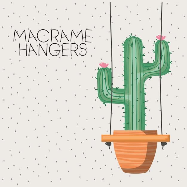 Kaktus zimmerpflanze in makramee kleiderbügel Premium Vektoren