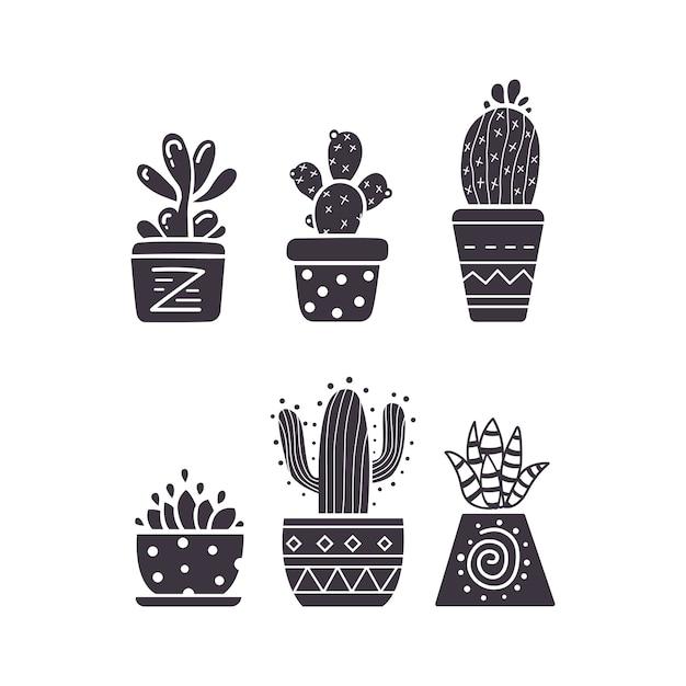 Kaktushand zeichnen ikonen auf weißem hintergrund. hauspflanzen kakteen und sukkulenten setzen. Premium Vektoren