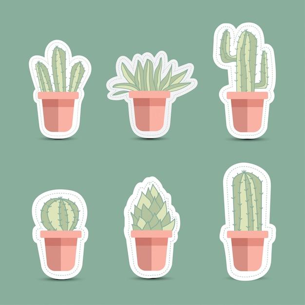 Kaktusikonen in einer flachen art auf einem weißen hintergrund Premium Vektoren