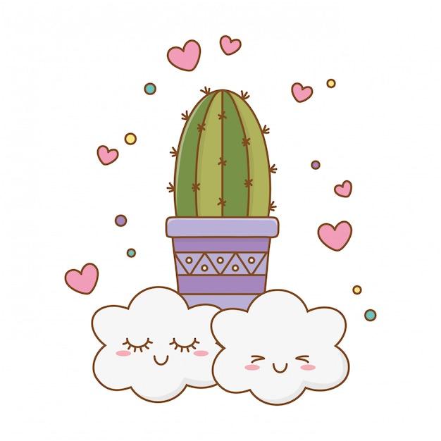 Kaktusikonenkarikatur mit wolken Premium Vektoren
