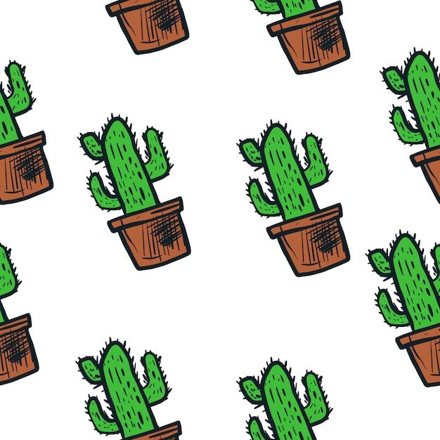 Kaktusillustrations-vektormuster nahtlos Premium Vektoren