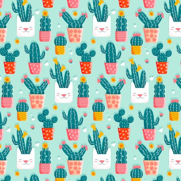 Kaktusmuster mit niedlichen töpfen Kostenlosen Vektoren