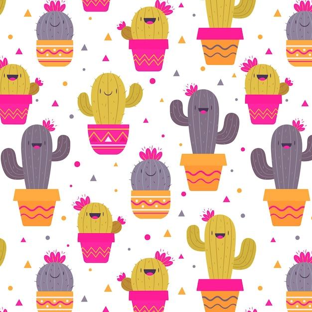 Kaktusmuster-sammlungsentwurf Kostenlosen Vektoren