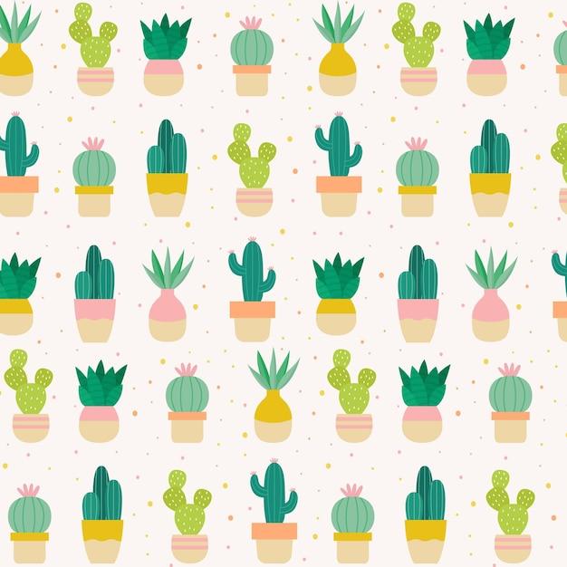 Kaktusmuster Premium Vektoren